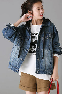 Vintage Hoodie Denim Coat Women Cotton Jacket For Fall W8113