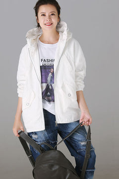 Casual Zipper Hoodie Lace Coat Women Fashion Jacket W8728
