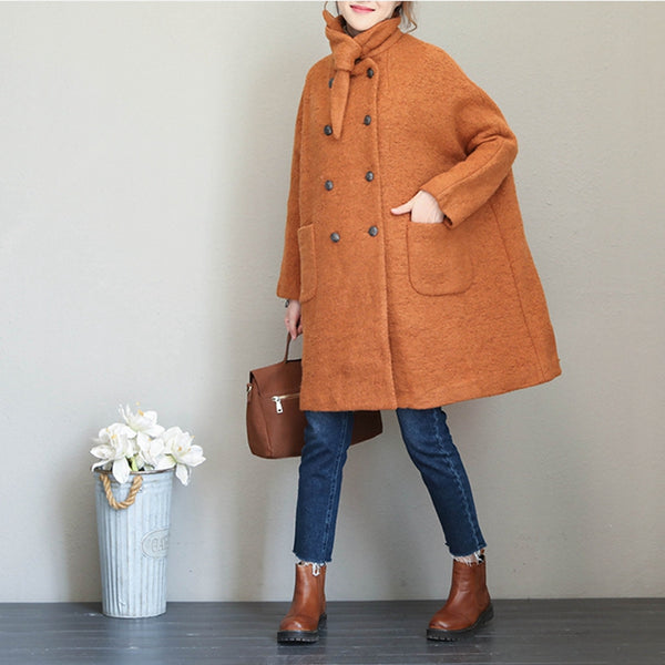 Fashion Casual Button Down Woolen Coat Women Warm Long Jacket Q1686