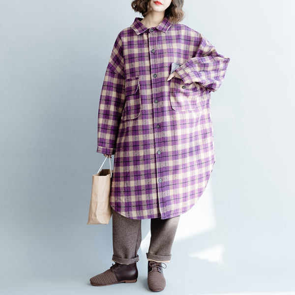 Cute Plaid Woolen Overcoat Women Casual Tops C1313