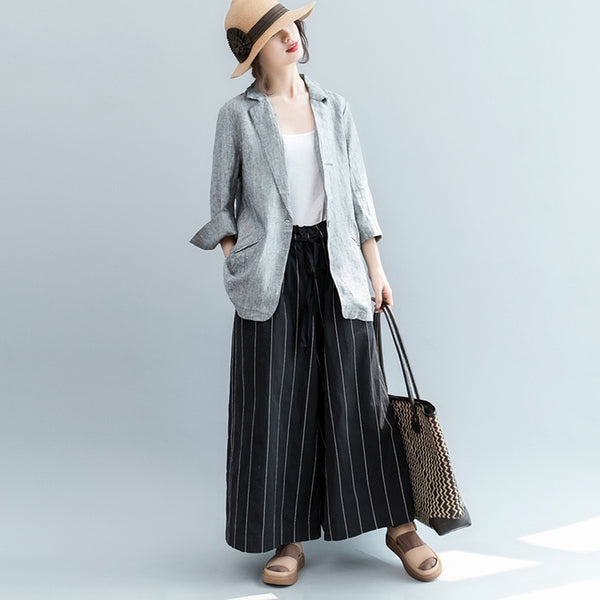 Fashion Gray Cotton Linen Coat Women Fall Suit Jacket C3080