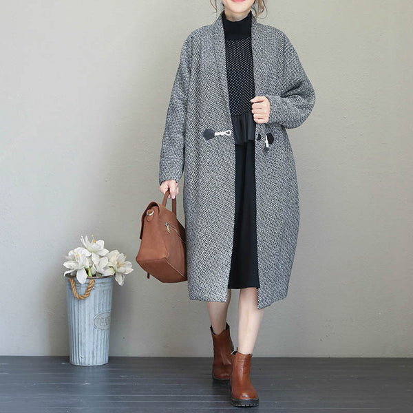 Fashion Elegant One Button Long Coat Women Warm Jacket Q1684