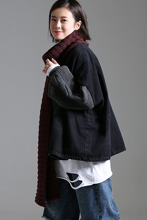Casual Quilted Black Cotton Coat Women Thicken Jacket W2390