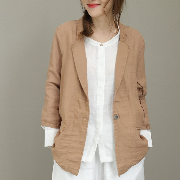 Casual Loose Cotton Linen Coat Women Fashion Jacket Q8102 - FantasyLinen