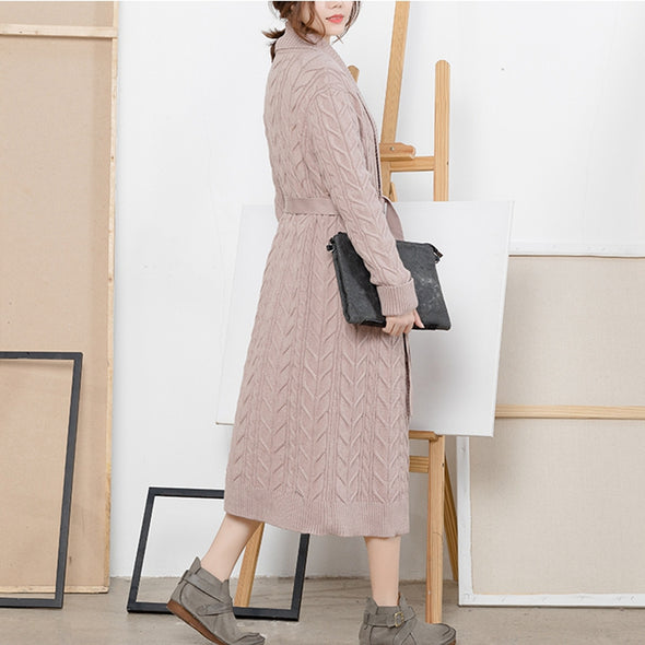 Casual Lace Up Pure Color Long Sweater Coat For Women C2212