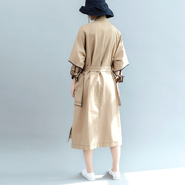 Cute Casual Khaki Wind Coat Women Fall Jacket C2089