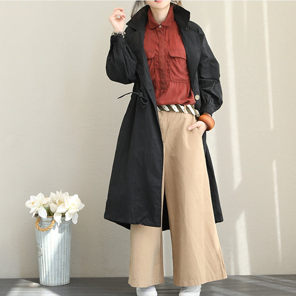 Casual Loose Cotton Wind Coat Women Fall Jacket Q1511
