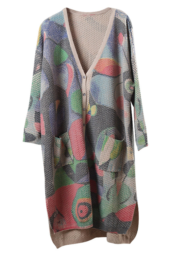 Women Vintage Loose Print Sweater Coat Casual Tops C3019
