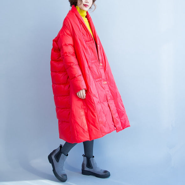 Black And Red Loose Casual Long Down Coat For Women C2910