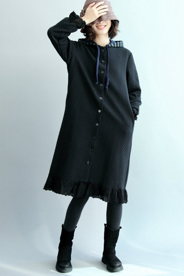 Casual Button Down Black Quilted Cotton Long Coat For Women W1101
