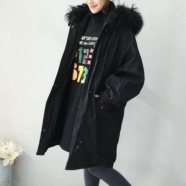 Black Hoodie Thicken Brushed Denim Winter Coat For Women Q1939