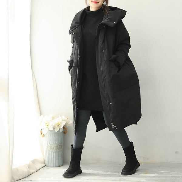 Women Black And Red Hoodie Long Down Coat For Winter Q1968
