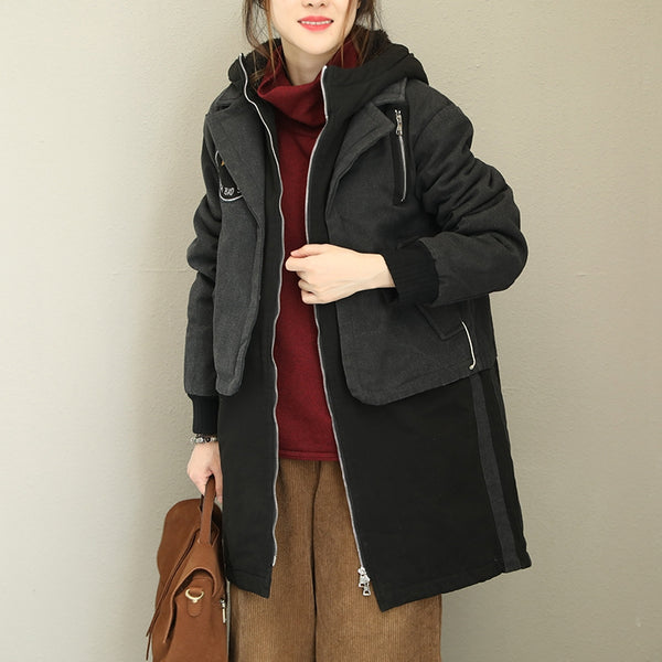 Women Black Hoodie Loose Coat Casual Warm Jacket Q1771