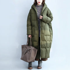 Women Green Hoodie Loose Long Down Coat For Winter C2912