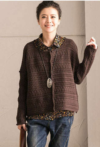 Coffee Art Simply Casual Round Collar Knit Sweater  Women Clothes Z1331B