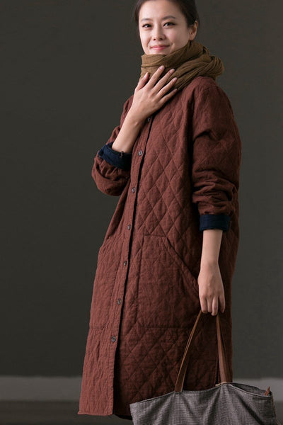 Casual Big Pocket Oversize Cotton Warm Coat For Women W1972B