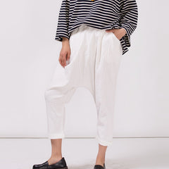 Women's White Cotton Linen Casual Elastic Waist Pants