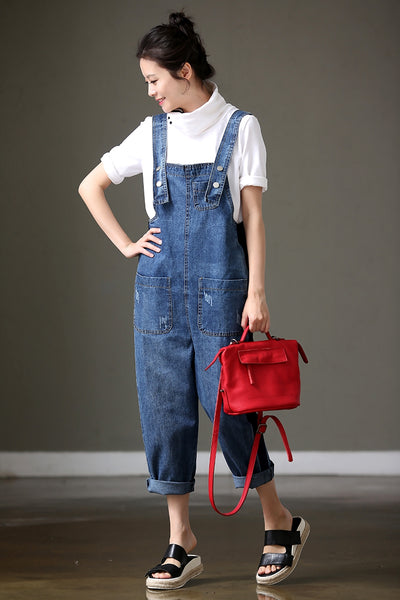 Chic Blue Loose Casual Denim Overalls Jumpsuit N7701