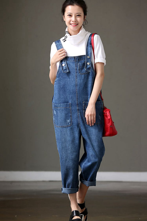 Chic Blue Loose Casual Denim Overalls Jumpsuit N7701 - FantasyLinen