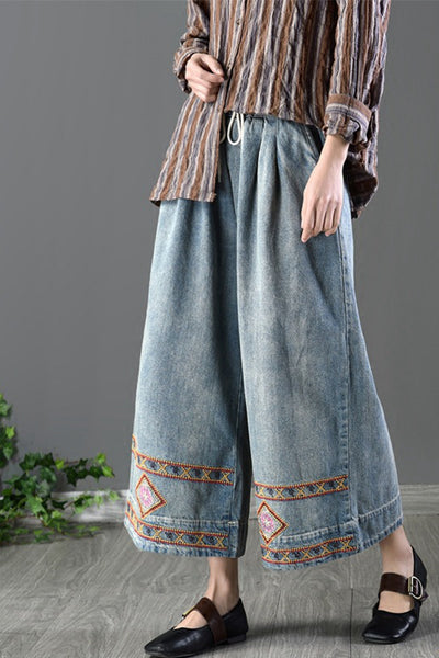 Embroider Vintage Cowboy Jeans Wide-legged Pants Loose Trousers K7103