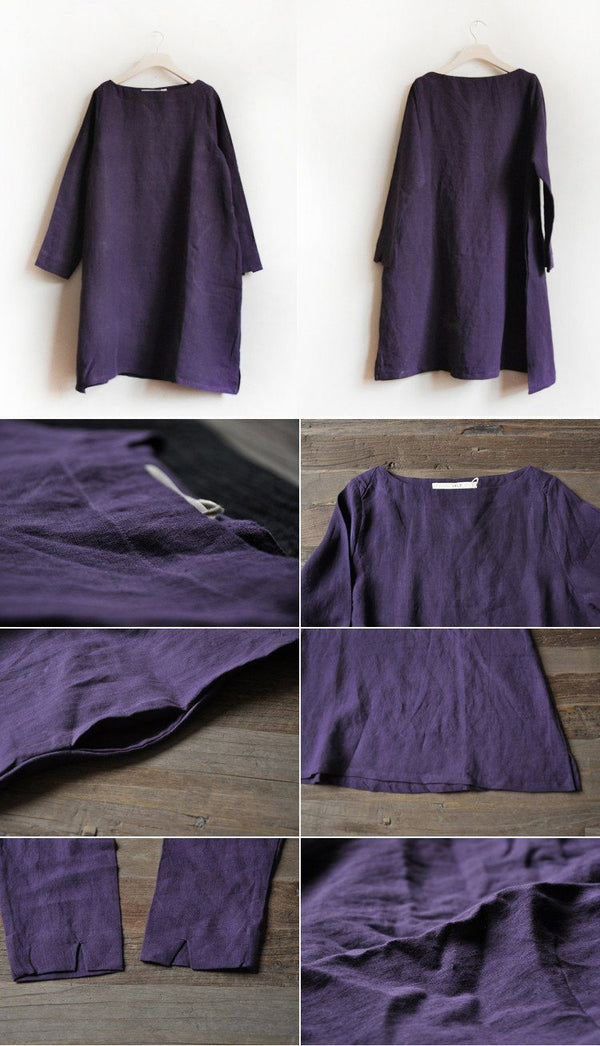 Purple Linen Dress Causel Women Clothes - FantasyLinen