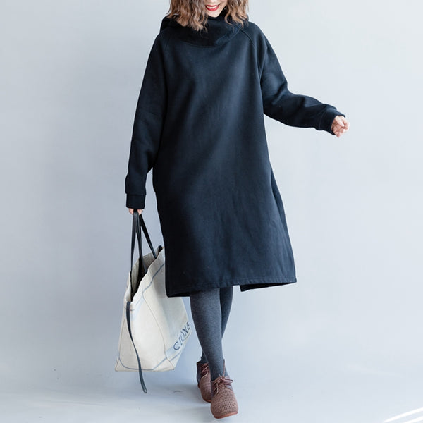 Women Casual High Neck Cotton Fleece Dresses For Winter Q5116