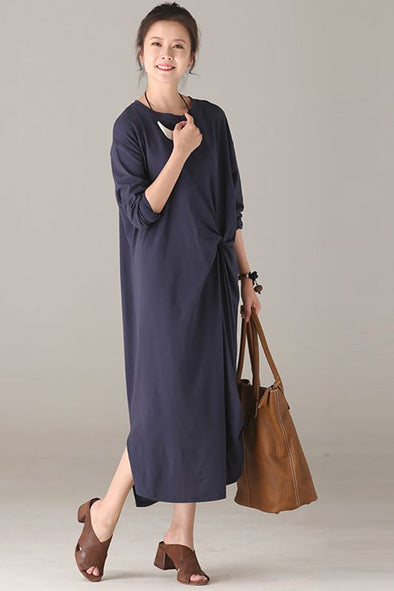 Loose Cotton Maxi Dresses Women Fall Outfits Q1206