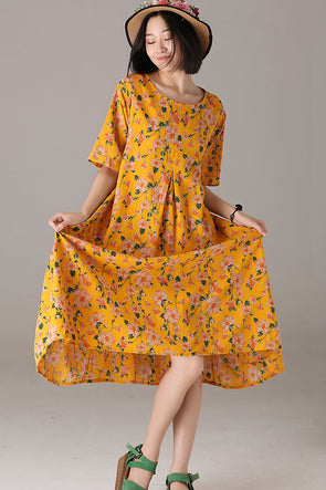 Cute Floral Cotton Linen Dresses Women Loose Outfit Q5922