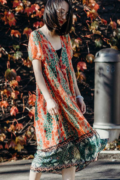 Casual Floral Long Dresses Women Cute Outfits Q8951