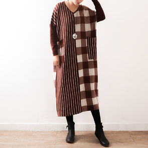 Casual V Neck Plaid Knitted Long Dresses Women Loose Gown