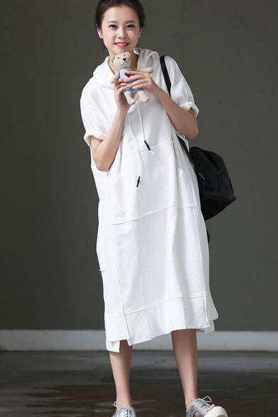 Loose Hoodie Long Dresses Women Summer Cotton Clothes Q8820