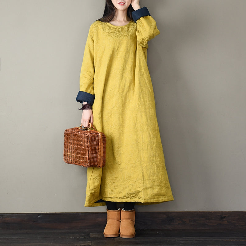 e91b366359f Pink And Yellow Vintage Thicken Cotton Linen Maxi Dresses P070 ...