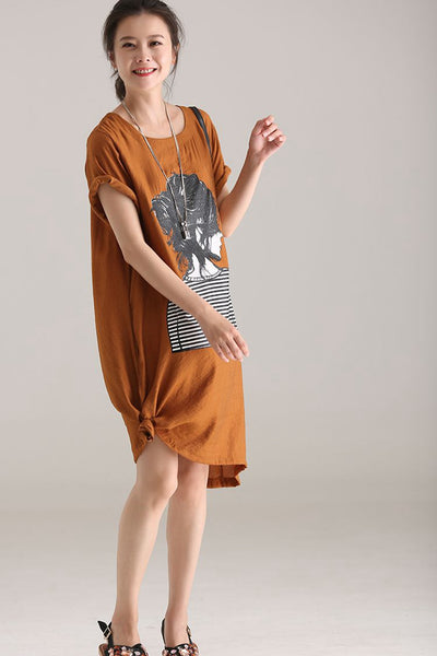 Casual Thin Print Dresses Women Loose Clothes Q5833