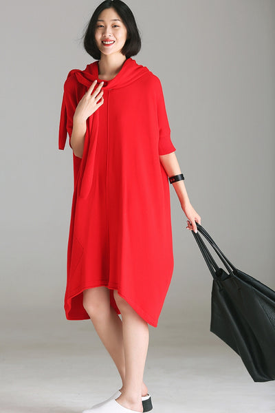 Casual Loose Hoodie Pure Color Dresses Women Autumn Clothes Q1683
