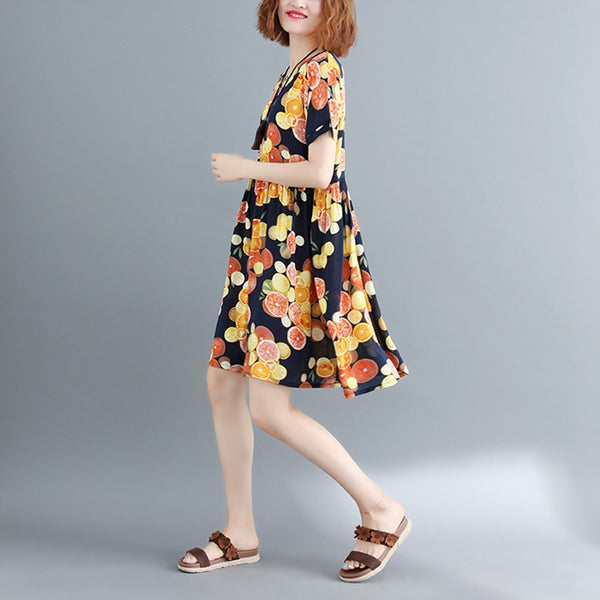 National Cute Print Cotton Dresses Women Casual Outfits Q9077