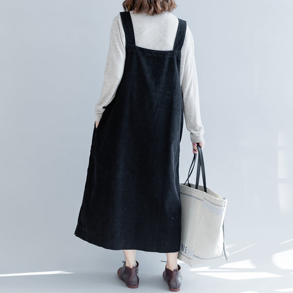 Loose Corduroy Strap Dresses Women Fall Outfits Q2493