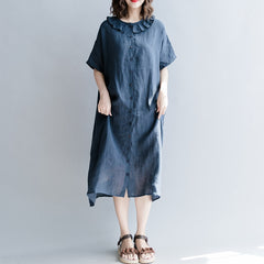 Fashion Cotton Linen Dresses With Sleeves Women Loose Clothes Q1864