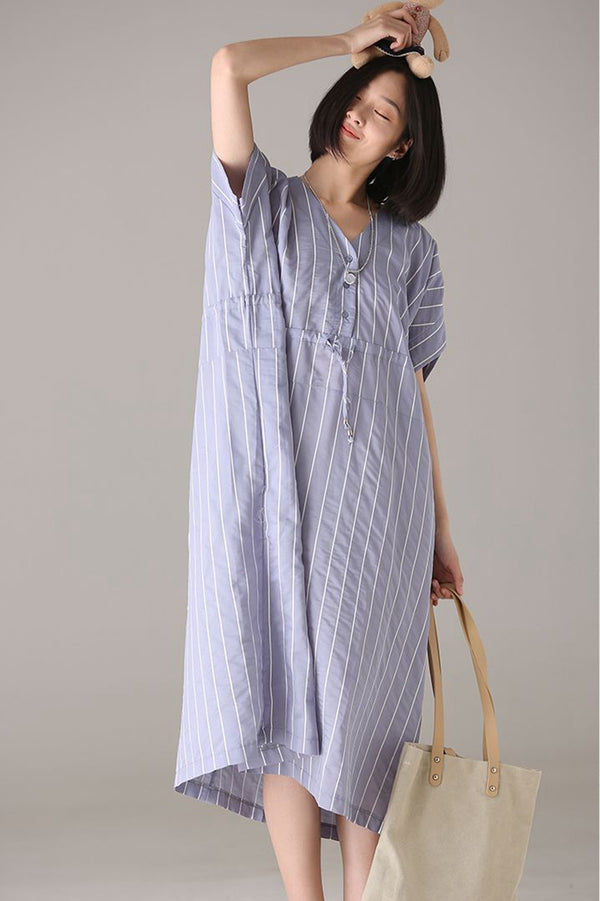 Plus Size Striped Long Dresses Women Casual Clothes Q3973