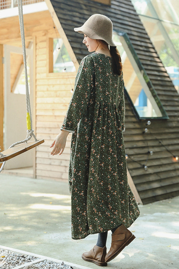Cute Green Floral Print Cotton Linen Maxi Dresses For Women Q8919