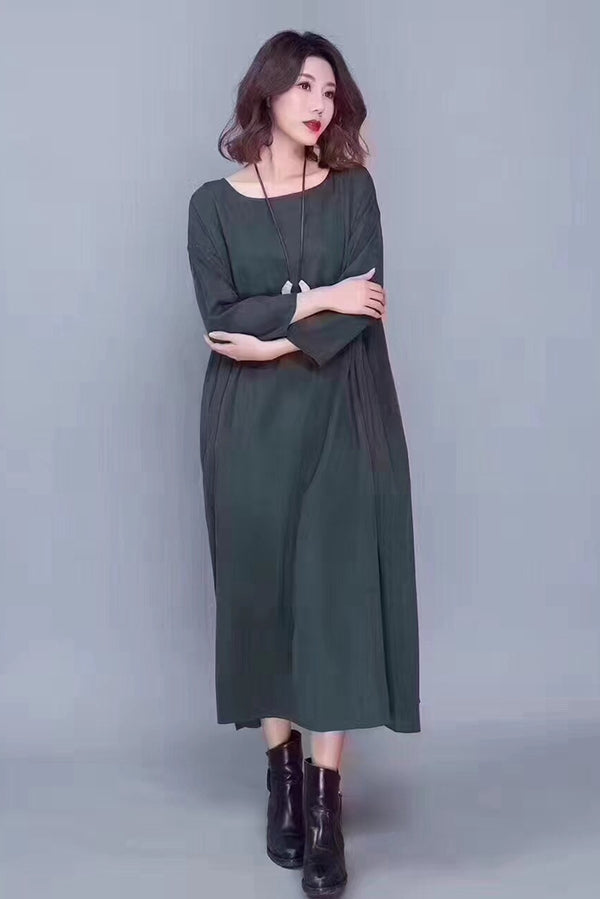 Casual Fall Maxi Silk Dresses For Women C8073