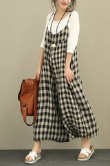 Plaid Linen Casual Women Overalls Loose Vintage Jumpsuits For Women 3051