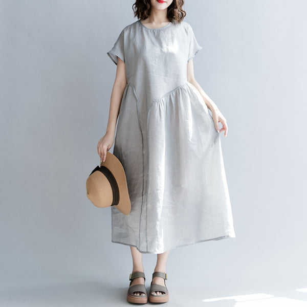 Vintage Plus Size Maxi Dresses Linen Clothes For Women Q1866