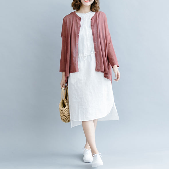 Elegant Sleeveless Cotton Linen Dresses Women Loose Clothes Q1073