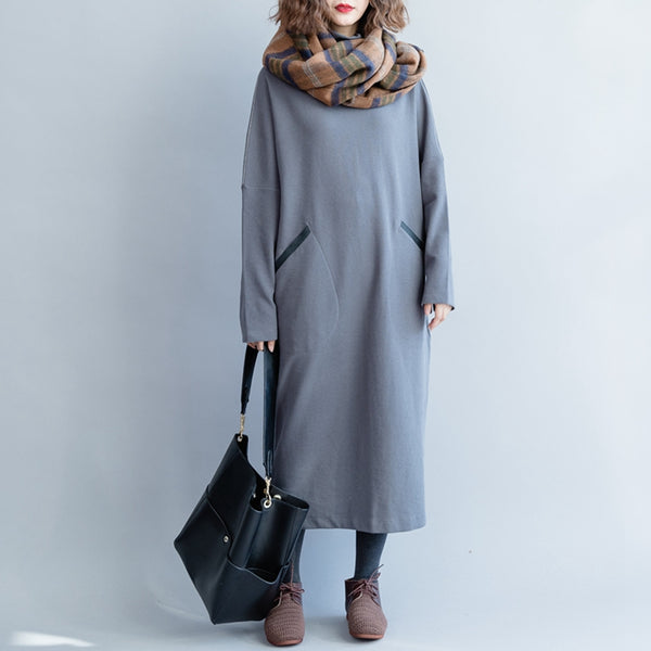 Loose Knitted Casual Maxi Dresses Women Winter Clothes Q5115