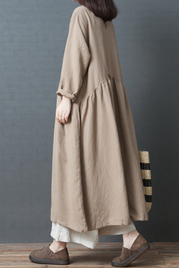 Fashion Loose Linen Maxi Dresses Women Fall Outfits Q3094
