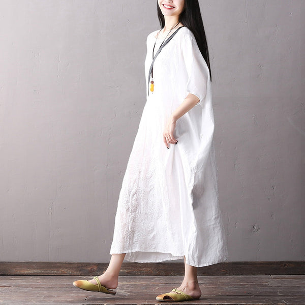 Elegant Bat Sleeve Cotton Linen Long Dresses Women Casual Clothes Q2064