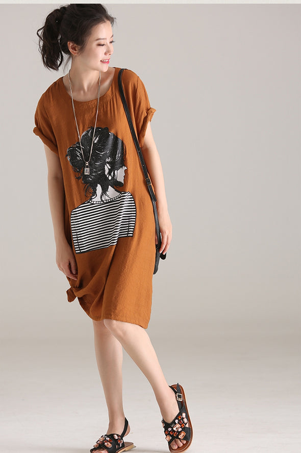 Casual Thin Print Dresses Women Loose Clothes Q5833 - FantasyLinen