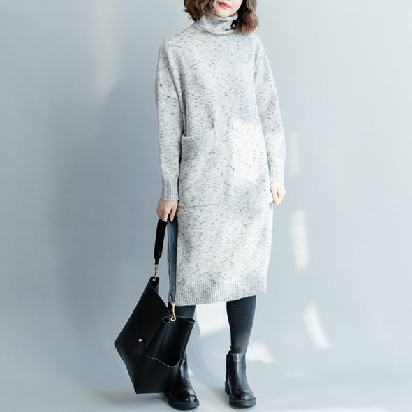 Casual High Neck Long Base Sweater Dresses For Women Q1214