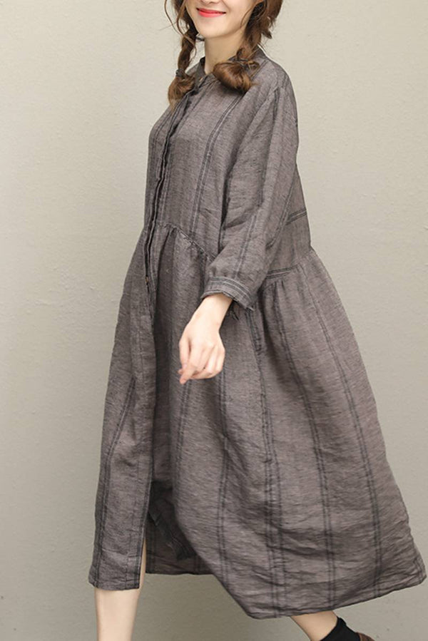 Plus Size Long Sleeve Linen Summer Loose Women Dresses Q7611 - FantasyLinen