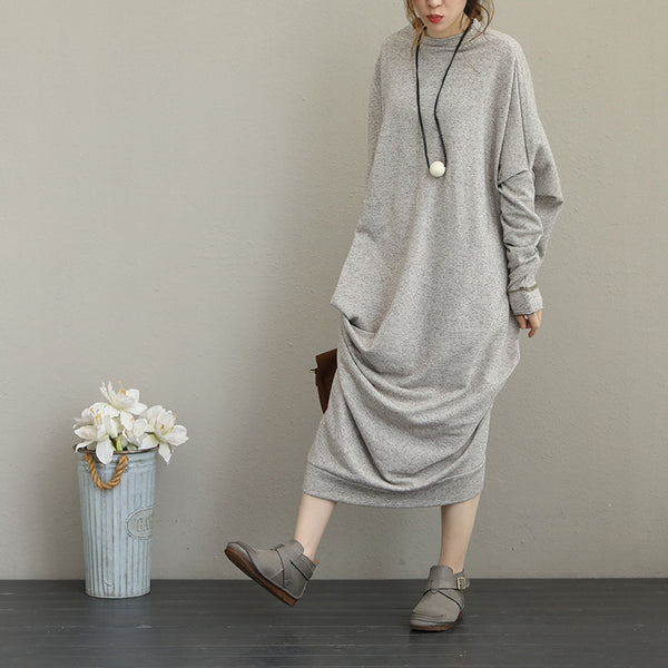 Women Vintage Comfort Cotton Knitted Base Maxi Dresses Q1657